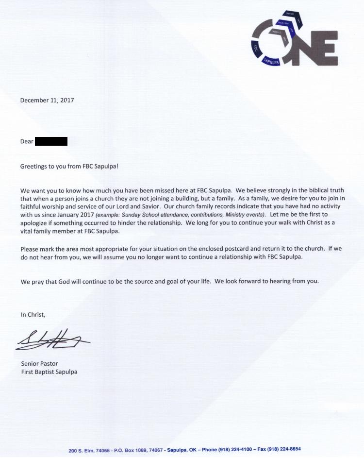 9Marks Church Discipline Letter from FBC Sapulpa