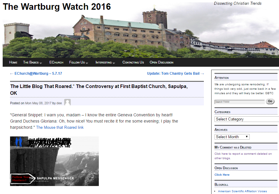 The Sapulpa Messenger featured on the wartburg watch